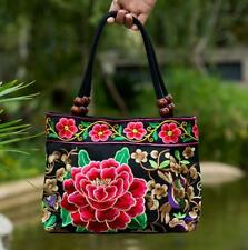 Embroidery handbag ethnic canvas totes wood beads double layered shoulder bag