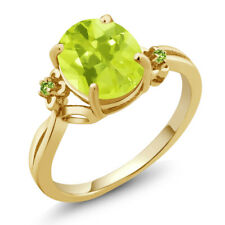 2.04 Ct Oval Yellow Lemon Quartz Green Simulated Peridot 14K Yellow Gold Ring