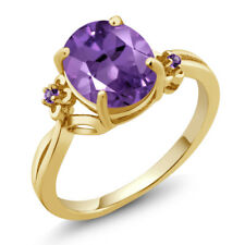 2.24 Ct Oval Purple Amethyst 18K Yellow Gold Plated Silver Ring