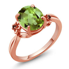 3.04 Ct Oval Green Peridot Red Garnet 18K Rose Gold Ring