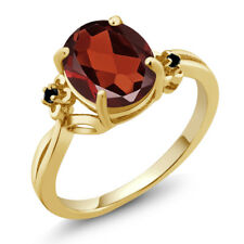 2.53 Ct Oval Red Garnet Black Diamond 18K Yellow Gold Plated Silver Ring