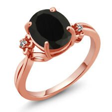 2.53 Ct Oval Black Onyx White Diamond 18K Rose Gold Plated Silver Ring