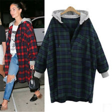 Women Hoodie Plaid Jacket Coat Ladies Casual Hooded Outerwear Tops Outwear Hoody