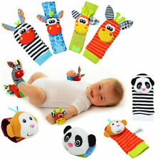 2X Plush Cute Baby Wrist Strap & 2X Foot Socks Child Rattles Educational Toys