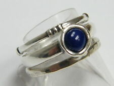 SHABLOOL 925 Sterling Silver Blue natural Lapis Stackable Ring Jewelry