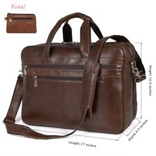 Augus Mens Leather Computer Business Briefcase 17 Inch Multi-Function Laptop Bag