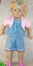 "Doll Clothes Made 2 Fit American Girl 18"" inch Dress Sundress Blue Shrug Pink"