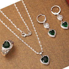 925 Silver Emerald Heart Pendant Jewelry Women Necklace Earrings Ring Set
