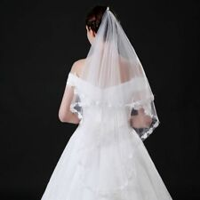 New 1 T White/Ivory Wedding Bridal Veil Without Comb Lace Edge