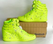 New!! Reebok Women's Yellow Silver Wedge Ehsani Freestyle Athletic Hi Top Shoes