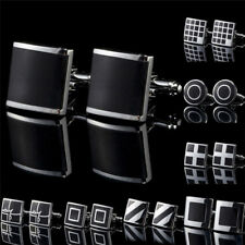 1Pc Black Stainless Steel Mens Cufflinks Shirt Cuff Links Wedding Party Gift^-^