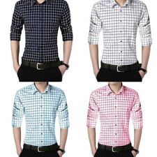 Solid color 1Pcs Men's Shirts Casual shirt Long sleeves plaid shirt