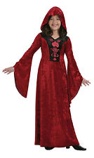 Girls Vampire Costume Long Red Halloween Fancy Dress Medieval Gothic 6-8 8-10