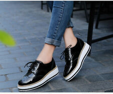 Woman platform brogue patent leather plats lace up wedge footwear oxford shoes