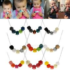 Baby Kids Wood Teething Necklace Octagonal Beads Charm Teether Chain Nursing
