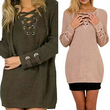 Womens Lace Up Sweater Cross V-Neck Long Sleeve Loose Tops Jumper Pullover