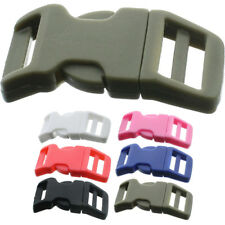 """Curved Buckles Side Release Single Adjust Clasp Plastic Paracord 5/8""""- 25 Pack"""