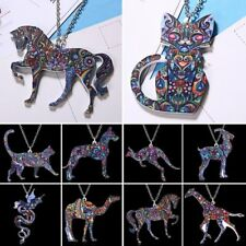 New Colorful Thermal Transfer Printing Animal Cat Dog Pendant Necklace Jewellery
