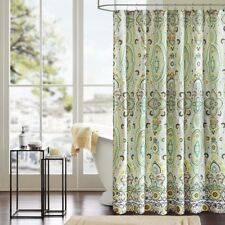"""Deluxe Green Yellow & White Ogee Design Fabric Shower Curtain - 72"""" x 72"""""""