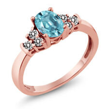 1.01 Ct Oval Blue Zircon White Diamond 18K Rose Gold Plated Silver Ring