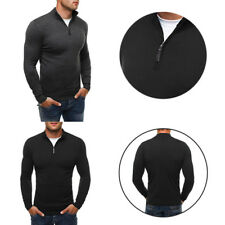 Casual style Men's woolen sweater High-necked knitwear Solid color knit shirt