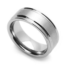 Men 8MM Comfort Fit Tungsten Carbide Wedding Band Grooved Edges Brushed Ring