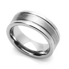 Men 8MM Comfort Fit Tungsten Carbide Wedding Band Two Grooved Edges Brushed Ring