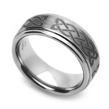 Men 8MM Comfort Fit Tungsten Carbide Wedding Band Celtic Knot Engraved Ring