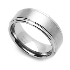 8MM Comfort Fit Tungsten Carbide Wedding Band Grooved Edges Brushed Ring
