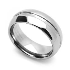 8MM Comfort Fit Tungsten Carbide Wedding Band Grooved Center Domed Ring
