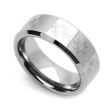Men 8MM Comfort Fit Tungsten Carbide Wedding Band Cross Patern Engraved Ring