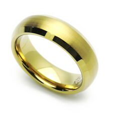 Men 6MM Comfort Tungsten Carbide Wedding Band Gold Tone Dome Beveled Edge Ring