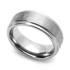 Men 8MM Comfort Fit Tungsten Carbide Wedding Band Celtic Knot Engraved Flat Ring