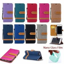 DENIM JEANS HYBRID Wallet Stand Leather Flip RUGGED Cover Case For Apple iPhone