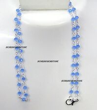 Sky Blue Chalcedony Faceted Rondelle Beads Rosary Wire Wrapped Chain Necklace.