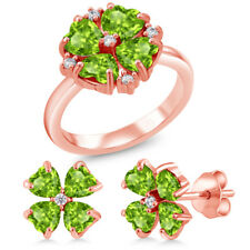 4.29 Ct Heart Shape Green Peridot 18K Rose Gold Plated Silver Ring Earrings Set