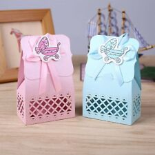 12Pcs Candy Box Baby Carriage Laser Bag Hollow Sculpture Birthday Party Supplies