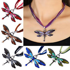 Creative Dragonfly Charms Enamel Necklace Chain Crystal Rhinestone Wing Pendant