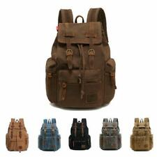 Mens Outdoor Backpack Vintage Canvas Bag Travel Large Capacity Hiking Camping