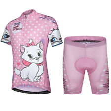 Kids Cycling Clothes Kit Pink Girls Reflective Bike Jersey and Padded Shorts Set