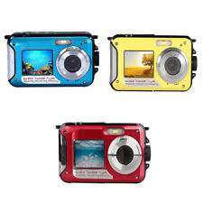 "2.7"" LCD 24MP Dual Screen Waterproof Digital Camera  4x Zoom 1080p HD Video"