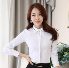 White Lady Business Button Up Long Sleeve Office Top Shirt OL Women Blouse