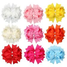 "9pcs 4.5"" Solid Stacked Boutique Girl Baby Toddler Spike Hair Bows Mixed 9 Color"
