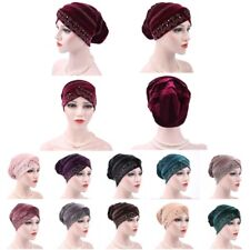 Women Lady Velvet Ruffle Cancer Chemo Hat Beanie Scarf Turban Head Wrap Cap New