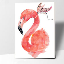 """16X20""""Paint By Number Flamingo with Feather DIY Kit Acrylic Painting Canvas 2377"""