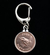 "BRITISH GEORGE VI WREN FARTHING COIN KEYRING CHARM ""CHOOSE YOUR YEAR"" 1937 1952"