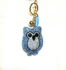 Rhinestone Crystals Owl Keychain Purse Bag Key Ring Chain Tassel and Golden Ball