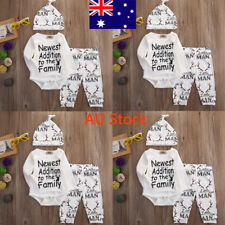 3PCS Newborn Baby Long Sleeve Jumpsuit Toddler Boys Girls Outfit Infant Kids Set