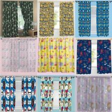 Cartoon Character Theme Curtains Childrens Kids Bedroom Ready Made Set 2 Sizes