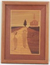 Vintage Solid Wood Marquetry Exotic Wood Inlay Picture Folk Art Country Church